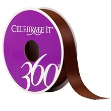 "Celebrate It 360 Double-Faced Satin Ribbon, 5/8"", Brown"