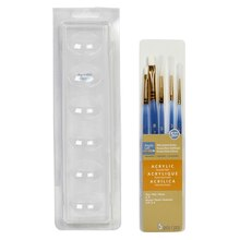 Artist's Loft Necessities White Synthetic Acrylic Round & Flat Brushes, 5 Pieces