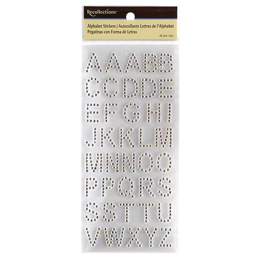 Recollectionstm alphabet stickers iridescent rhinestone for Michaels stick on letters