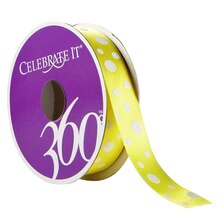 Celebrate It 360 Satin Ribbon, Glitter Multi Dots, Yellow
