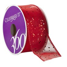 "Celebrate It 360 Sheer Wired Ribbon, Glitter, 1 1/2"", Red"