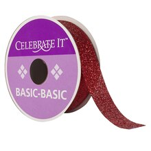 Celebrate It 360 Glitter Ribbon, Red