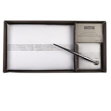 Celebrate It Occasions Guestbook and Pen Set, White Satin with Rhinestones