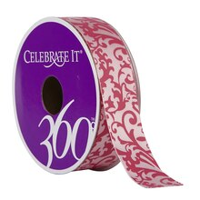 Celebrate It 360 Satin Ribbon, Pink Damask