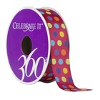 Celebrate It 360 Satin Ribbon, Dots, Dark Red