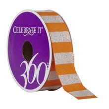 Celebrate It 360 Grosgrain Ribbon, White Glitter Stripes