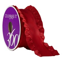 "Celebrate It 360 Double Ruffle Satin Ribbon, 1 1/2"", Red"