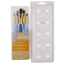 Artist's Loft Necessities Brown Synthetic Acrylic Brush Combo, 5 Pieces