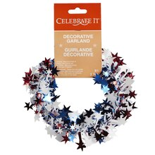 Celebrate It Decorative Garland, Red, White, Blue Stars