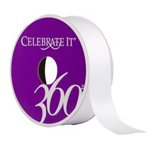 "Celebrate It 360 Satin Ribbon, 7/8"", White"