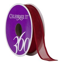 """Celebrate It 360 Sheer Wired Ribbon, 5/8"""", Red"""