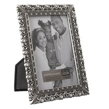 """Studio Décor Expressions Ornate Pewter Frame with Jewels, 3.5"""" x 5"""""""