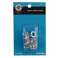 "Loops & Threads Eyelets, 1/4"", Silver"