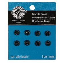 Loops & Threads Sew-On Snaps, Black