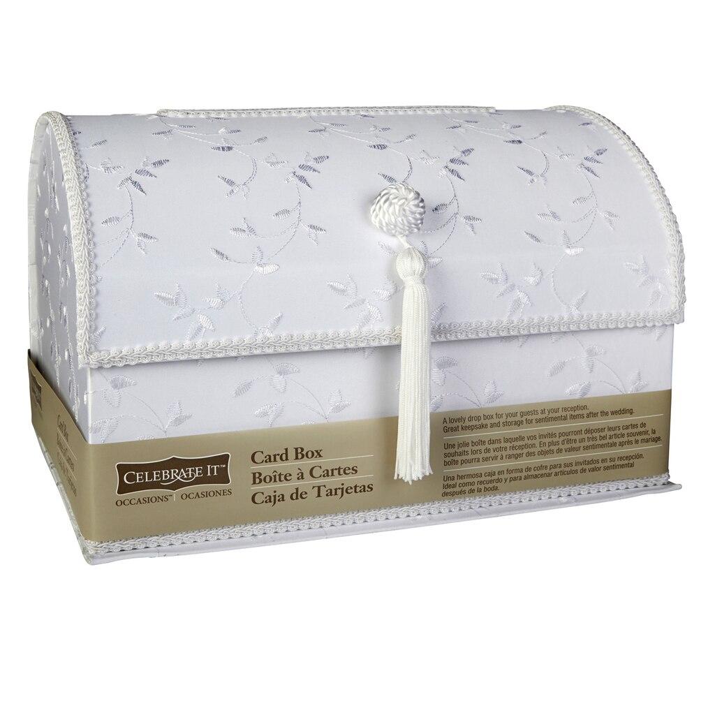 celebrate it occasions white satin card box - Michaels Wedding Invites