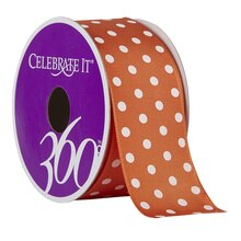 Celebrate It 360 Wired Satin Ribbon, White Polka Dots, Orange