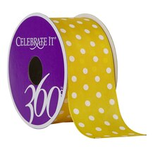 Celebrate It 360 Wired Satin Ribbon, White Polka Dots, Yellow