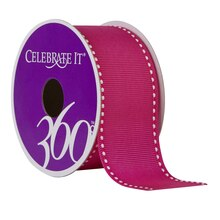"Celebrate It 360 Grosgrain Side-Stitched Ribbon, 1 1/2"", Fuchsia"