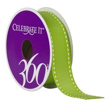 """Celebrate It 360 Grosgrain Side-Stitched Ribbon, 7/8"""", Lime"""