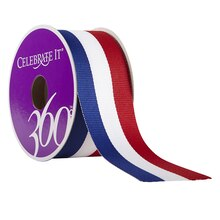 Celebrate It 360 Grosgrain Ribbon, Red, White & Blue, 1 1/2""