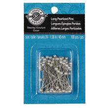 Loops & Threads Long Pearlized Pins, White