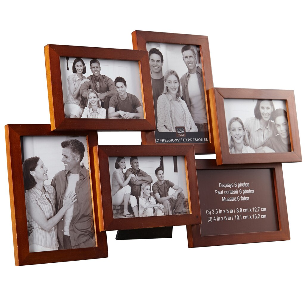 Walnut 6 opening collage frame expressions by studio d cor - Six pictures photo frame ...