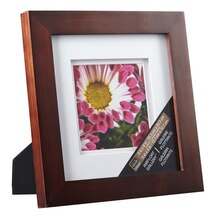 """Studio Décor Airfloat Gallery Frame with Double White Mat, Walnut 5"""" x 5"""""""