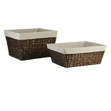 Ashland Water Hyacinth Storage Basket with Liner, Large