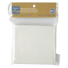"Artist's Loft Necessities Mini Canvas Panels, 4"" x 4"" White"