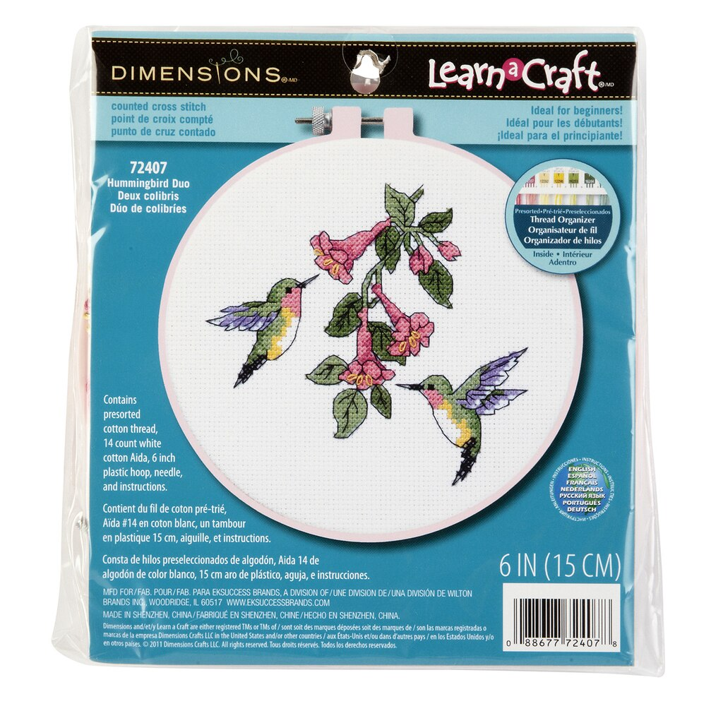 dimensions counted cross stitch kit hummingbird duo