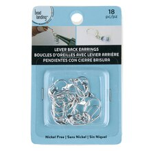 Bead Landing Lever Back Earrings with Drop, Silver