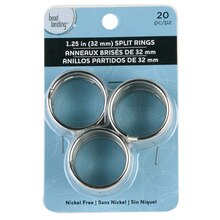 Bead Landing Split Rings, 32 mm, Rhodium