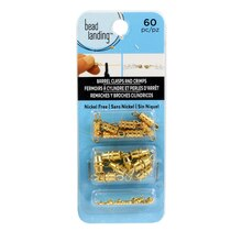 Bead Landing Barrel Closures & Crimp Beads Set, Gold