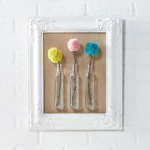 "Framed Pom Pom ""Floral"" Stems in Glass Bottles"