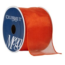 "Celebrate It Mega Shimmer Wired Ribbon, 2 1/2"", Bright Orange"