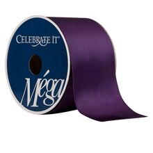 "Celebrate It Mega Satin Wired Ribbon, 2 1/2"", Eggplant"