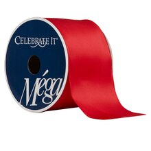 "Celebrate It Mega Satin Wired Ribbon, 2 1/2"", Red"