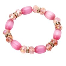 Darice Cat's Eye Beaded Bracelet with Rhinestones, Pink