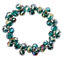 Darice Crystal Pinwork Beaded Bracelet, Dark Green