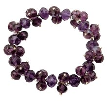 Darice Crystal & Silver Beaded Bracelet, Purple