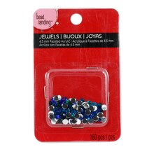 Bead Landing Faceted Acrylic Jewels, Blue/Green 4.5 mm