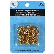 Bead Landing Split Rings, 9 mm, Gold