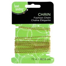 Bead Landing Mini Drawn Cable Chain, Gold