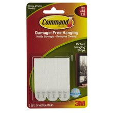 3M Command Medium Picture Hanging Strips, White