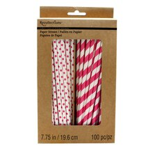 Recollections Craft It Printed Paper Straws, Fuchsia
