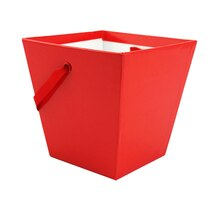Celebrate It Large Square Pail, Glossy Red