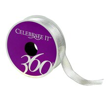 "7/8"" Sheer Wired Metallic Ribbon by Celebrate It, Silver"