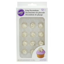Wilton White Rose Icing Decorations, Small