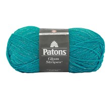 Patons Glam Stripes Yarn, Teal