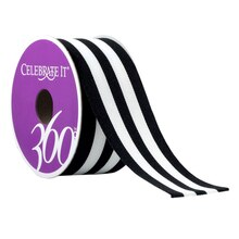 Celebrate It 360 Grosgrain Ribbon, Stripes, Black & White